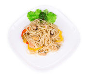 Tasty italian pasta with seafood as haute cuisine. Royalty Free Stock Photography