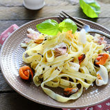 Tasty Italian pasta with seafood Royalty Free Stock Images