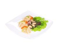 Tasty italian pasta with seafood. Royalty Free Stock Photo