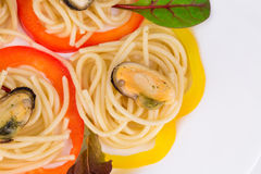 Tasty italian pasta with seafood. Royalty Free Stock Photography