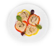 Tasty italian pasta with seafood. Royalty Free Stock Photos