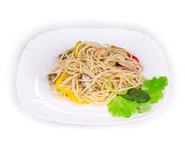 Tasty italian pasta with seafood. Stock Images