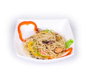 Tasty italian pasta with seafood. Royalty Free Stock Images