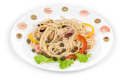 Tasty italian pasta with seafood. Stock Image