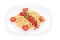 Tasty italian pasta with tomato sauce. Stock Photo