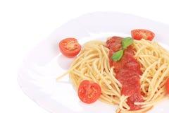 Tasty italian pasta with tomato sauce. Stock Photos