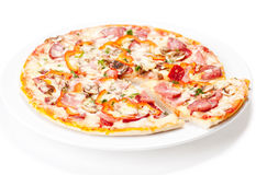 Tasty Italian Pepperoni pizza Royalty Free Stock Images