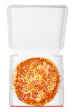 Tasty Italian pizza in the box royalty free stock photos