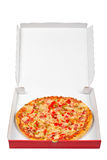 Tasty Italian pizza in the box Stock Images