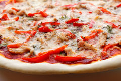 Tasty Italian pizza with cheese and chiken Royalty Free Stock Images