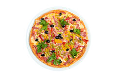 Tasty Italian pizza.Neapolitan,Close-up isolated Royalty Free Stock Photos
