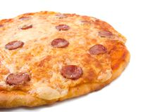 Tasty Italian pizza Pepperoni   close up. Royalty Free Stock Images