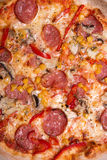 Tasty Italian pizza with pepperoni and mushrooms Royalty Free Stock Photo
