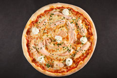 Tasty Italian pizza wit seafood salmon and cheese pheeladelphia Stock Photos