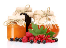 Tasty jam and berries. Over the white Royalty Free Stock Images