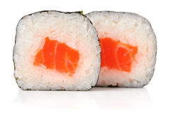 Tasty japanese rolls with salmon, rice and nori isolated Stock Photo