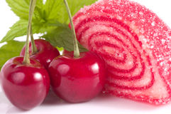 Tasty jelly candy with cherry Stock Images