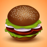 Tasty juicy burger, vector illustration Royalty Free Stock Photos
