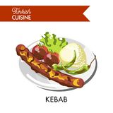 Tasty juicy kebab with roasted vegetables and rice Royalty Free Stock Photos
