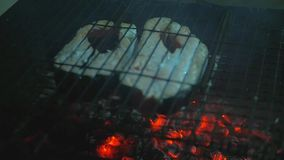 Tasty juicy red fish fried on the grill in the grill over an open fire. slow motion.1920x1080 stock footage
