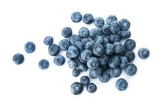 Tasty juicy ripe blueberries. On white background royalty free stock images