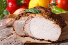 Tasty juicy roast pork tenderloin and fresh vegetables Stock Images
