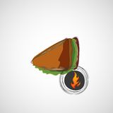Tasty and juicy sandwich on a light. Vector design Stock Photos