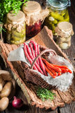 Tasty kabanos sausages in basket Royalty Free Stock Photography