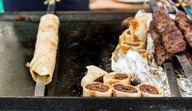 Tasty kebab on a barbaque. Royalty Free Stock Photos