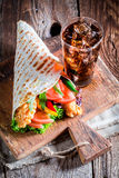 Tasty kebab with cold drink Royalty Free Stock Photography