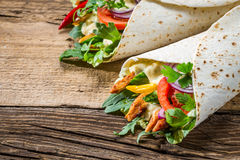 Tasty kebab with vegetables and chicken Stock Images