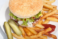 Tasty Large Cheeseburger with Fries. Tasty Large Cheeseburger with Tomato and Lettuce and Creamy Sauce with French Fries and Gherkins on the Side Stock Images