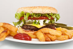 Tasty Large Cheeseburger with Fries Stock Photos