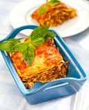Tasty lasagne with meat covered with cheese served on white plate stock photo