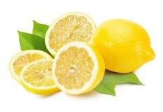 Tasty lemons isolated on the white background Stock Photos