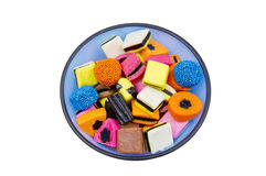 Tasty liquorice all sorts in a blue bowl Stock Photo