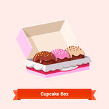 Tasty looking cupcakes in the cardbox Stock Photography
