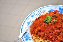 Tasty looking vegetarian spaghetti Royalty Free Stock Photo