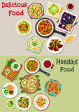 Tasty lunch icon set with salads and fruit dessert Royalty Free Stock Photography