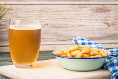 Tasty lupins and glass of beer Royalty Free Stock Image