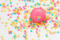 Tasty macaroon. Against colorful background. Top view Royalty Free Stock Photos