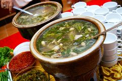 Tasty Malay Soup. Served at famous hotel buffet royalty free stock photography