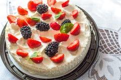 Tasty Mascarpone homemade cake stock images