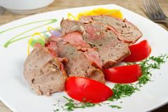 Tasty meal: fresh pate from meat with bacon Royalty Free Stock Photos