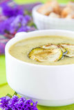 Zucchini cream soup with croutons Stock Photo
