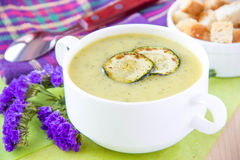 Zucchini cream soup with croutons Stock Images