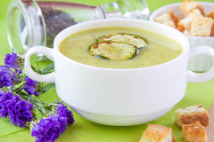 Zucchini cream soup with croutons Stock Image