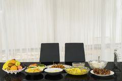 Tasty meals served to break the fast. Picture of tasty meals served on the dining table to breaking the fast. Shot at home Stock Photo
