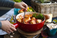 Tasty meat balls from beef and pork in tomato sauce, Autumn meal at home. Copy space.  royalty free stock photos