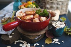 Tasty meat balls from beef and pork in tomato sauce, Autumn meal at home. Copy space.  royalty free stock photo